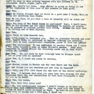 "Transcript of interview by Daniel Farson with William S. Burroughs and Alexander Trocchi for television program ""Something to Say,"" January 6, 1964"