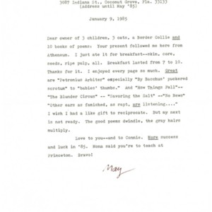Typed letter, signed from May Swenson to Donald Finkel, January 9, 1985
