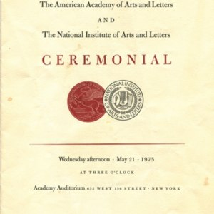 The American Academy of Arts and Letters and the National Institute of Arts and Letters Ceremonial program, May 21, 1975