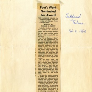 """Poet's Work Nominated for Award"" by Richard E. Murphy from the Oakland Tribune, February 4, 1962"