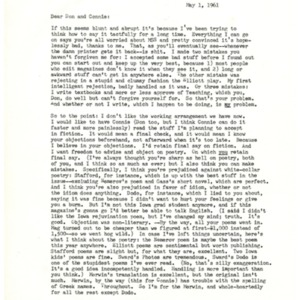 Typed letter, signed from John Gardner to Donald Finkel, May 1, 1961
