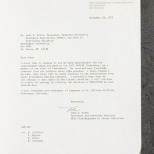 Letter from John A. Niemi to Dr. John B. Ervin