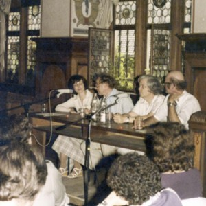 Heide Ziegler, Jack Hawkes, William H. Gass, and John Barth at an American-German conference in Germany, July 1979