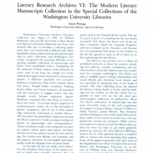 """Literary Research Archives VI: The Modern Literary Manuscripts Collection in the Special Collections of the Washington University Libraries"" by Anne Posega from <em>DLB Yearbook</em>, 1987"