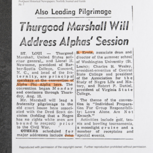 """Thurgood Marshall Will Address Alphas' Session"""