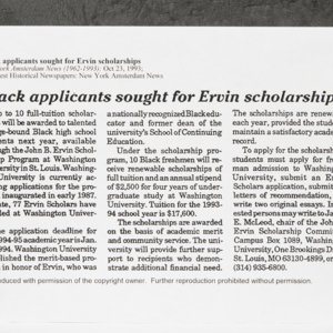 """Black applicants sought for Ervin scholarships"""