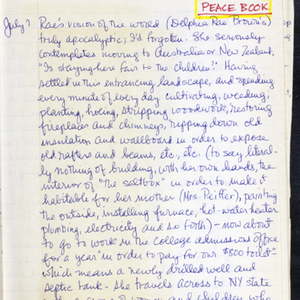 Autograph draft of material toward <em>Peactime</em> by Constance Urdang written in her journal, April 8, 1968-1969.
