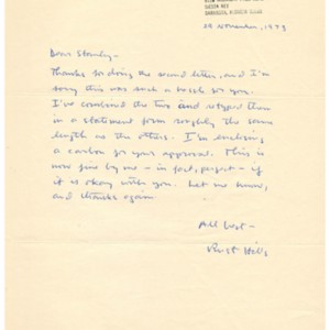 Autograph letter, signed from Rust Hills to Stanley Elkin, November 29, 1973