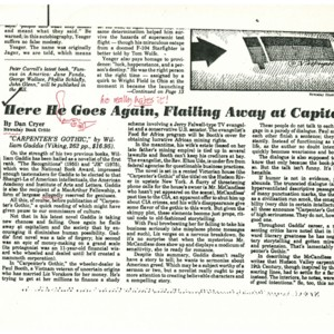 """Here He Goes Again, Flailing Away at Capitalism"" by Dan Cryer from <em>Newsday</em>, July 7, 1985"