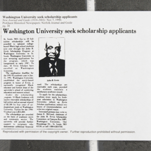 """Washington University seek scholarship applicants"""