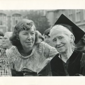 Mona Van Duyn and Marianne Moore at Washington University in St. Louis after Moore received an honorary doctor of letters degree