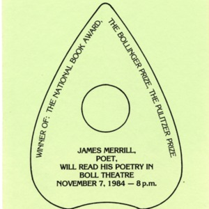 """James Merrill, Poet, Will Read His Poetry in Boll Theatre"""