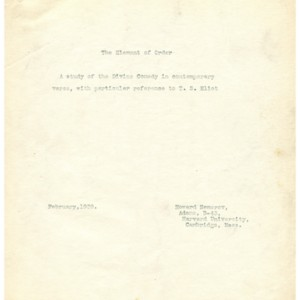 "Typescript draft of ""The Element of Order: A Study of the Divine Comedy in Contemporary Verse, With Particular Reference to T.S. Eliot"" by Howard Nemerov"