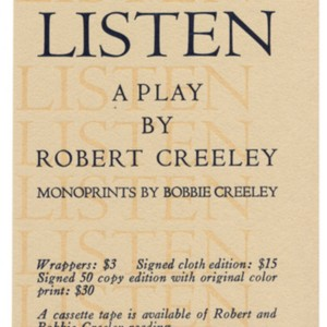 <em>Listen: A Play by Robert Creeley</em>
