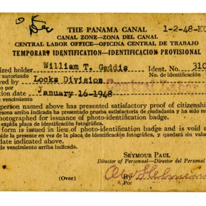 William Gaddis's Panama Canal temporary identification card
