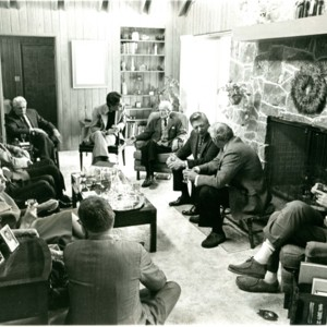 William Jay Smith seated with Allen Tate, Howard Nemerov, Josephine Jacobsen, and others