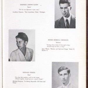 <em>Cherry Pit</em> yearbook from Cherry Lawn School featuring Donald Finkel, 1947