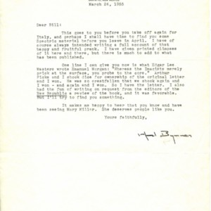 Typed letter, signed from Witter Bynner to William Jay Smith, March 24, 1955
