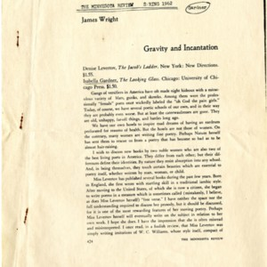 """Gravity and Incantation"" by James Wright from the <em>Minnesota Review</em>, Spring 1962"