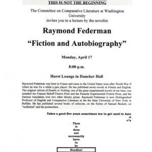 """Fiction and Autobiography"" featuring Raymond Federman and sponsored by The Committee on Comparative Literature at Washington University"