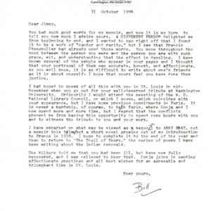 Typed letter, signed from William Jay Smith to James Merrill, October 31, 1994