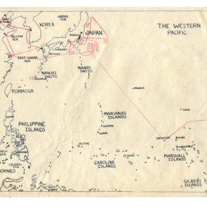Map drawn by Gass depicting places traveled with U.S. Navy during World War II