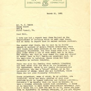 Typed letter, signed from James Laughlin to William Jay Smith, March 21, 1951