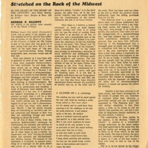 "<p>""Stretched on the Rack of the Midwest"" review by George P. Elliott of <em>In the Heart of the Heart of the Country</em></p>"