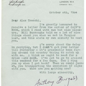 Typed letter, signed from Anthony Burgess to Trocchi, October 8, 1964