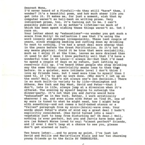 Typed letter, signed from James Merrill to Mona Van Duyn, February 22, 1990