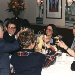 William H. Gass, Robert Coover, Mary Gass, Walter Abish, Ceile Gelb, and Shelly Barth in New York, circa 1983-84<br />