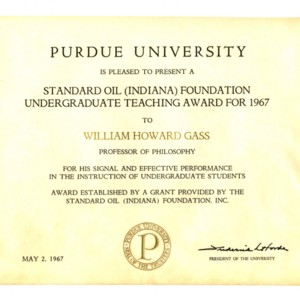 Standard Oil (Indiana) Foundation Undergraduate Teaching Award