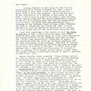 Typed letter, signed from Robert Duncan to James Dickey, October 21, 1964