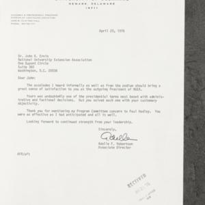 Letter from Adelle F. Robertson to Dr. John B. Ervin