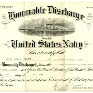 David Wagoner's honorable discharge from the United States Navy